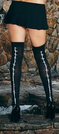 Opaque Stockings with Barbed Wire Print Seams